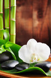 Spa concept. Zen stones and orchid stock photo