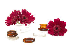 Spa concept. Spa - flowers with glass stones Royalty Free Stock Images