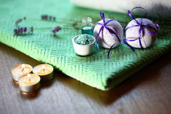 Spa Concept. With lavender and bath salt Stock Images