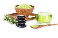 Spa Concept. Zen Stones and Relaxing Salt Royalty Free Stock Photos