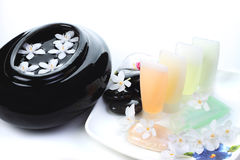 Spa concept. Spa still life with small white flowers Stock Photo