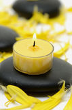 Spa concept. Zen like spa with black stones Stock Photography