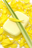 Spa concept. Handmade Soap and yellow flower peals with leaf Stock Image
