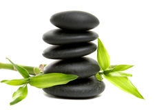 Spa concept. Zen stones and bamboo with leaf Stock Photo