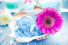Spa concept aromatic flower bath salt Royalty Free Stock Photos