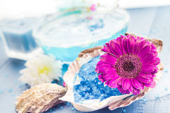 Spa concept aromatic flower bath salt Stock Image