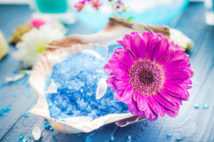 Spa concept aromatic flower bath salt Royalty Free Stock Photography