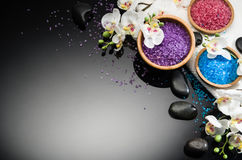 Spa concept on black background. Top view with copy space. Spa concept background on black reflective background. Top view frame product photograph with copy royalty free stock photography