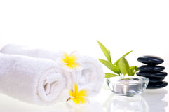 Spa concept with black zen stones and flowers Stock Image