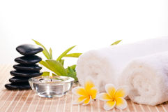Spa concept with black zen stones and flowers Royalty Free Stock Images