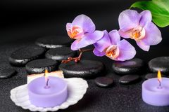 Spa concept of black zen stones, lilac orchid, candles Royalty Free Stock Image