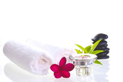 Spa concept with black zen stones and red flower Stock Photo
