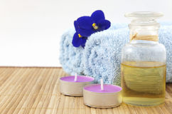 Spa concept with candle Stock Photos