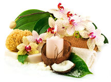 Spa concept with candle, coconut, orchid, towels, soap, green le Royalty Free Stock Photography