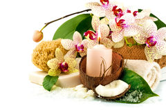 Spa concept with candle, coconut, orchid, towels, soap, green le Stock Photo