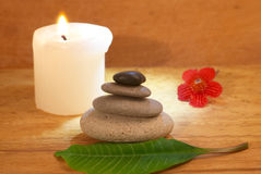 Spa concept with a candle Royalty Free Stock Image