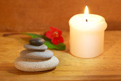 Spa concept with a candle Royalty Free Stock Images