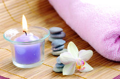 Spa concept with candles Stock Photos
