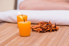 The spa concept with candles and dry leaves Stock Photography