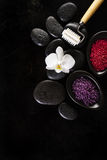 Spa Concept. Closeup of beautiful Spa Products with place for te Stock Image