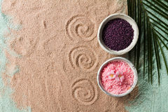 Spa Concept. Closeup of beautiful Spa Products - Spa Salt and Fl Royalty Free Stock Photos