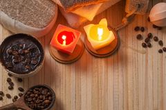 Spa concept with coffee on wooden background royalty free stock photo