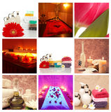 Spa concept collage. Set of beautiful different spa images in a collage Royalty Free Stock Photos