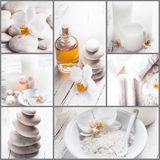 Spa concept collage. Sea salt, rebbles with orchids, essential oil and white towels, spa concept collage Royalty Free Stock Images