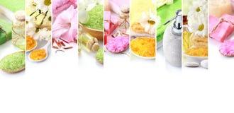 Spa concept collage. soap and essensials spa objects. Portrait of spa concept collage. soap and essensials spa objects. with copyspace Stock Photo