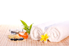 Spa concept with flower and bath salt Royalty Free Stock Images
