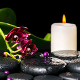 Spa concept of flower orchid, phalaenopsis, candle Stock Photos