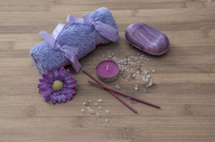 Spa concept. flowers,candles, aromatic salt,soap Stock Photography