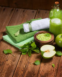 Spa concept with green apples Royalty Free Stock Photos