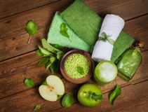 Spa concept with green apples  top view Stock Images