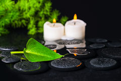 Spa concept of green leaf Calla lily, foliage and candles on zen Stock Photography