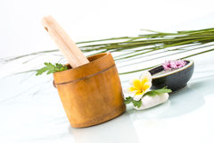 Spa concept with handmade herb, Flowers and leaf Royalty Free Stock Images