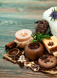 SPA concept: handmade soap with coffee beans, cinnamon and anise Stock Images
