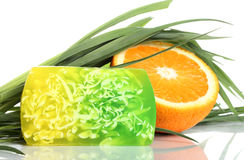 Spa concept, handmade  soap with fresh orange Stock Photo