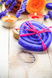 Spa concept herbal soaps scented candles Stock Photo