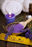 Spa concept with lavender and welcome sign stock image
