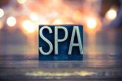 Spa Concept Metal Letterpress Type Royalty Free Stock Photos