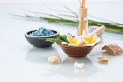 Spa concept with Mortar and Pestle, Flowers, leaf, Scented, and Royalty Free Stock Photo