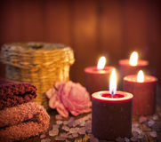Spa concept in night with candles Stock Photo
