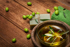 SPA concept:olive oil and green olives Royalty Free Stock Image