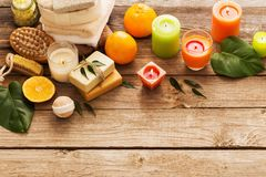 Spa concept with orange fruits on old wooden background Royalty Free Stock Photos