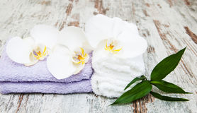 Spa concept  with  orchids Royalty Free Stock Images