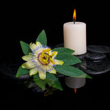Spa concept of passiflora flower, green leaf with drop. And candle on zen stones in reflection water, closeup royalty free stock photography