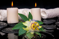 Spa concept of passiflora flower, green leaf with drop, towels Royalty Free Stock Photography