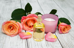 Spa concept with pink roses Stock Photos