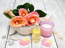 Spa concept with pink roses Stock Photography